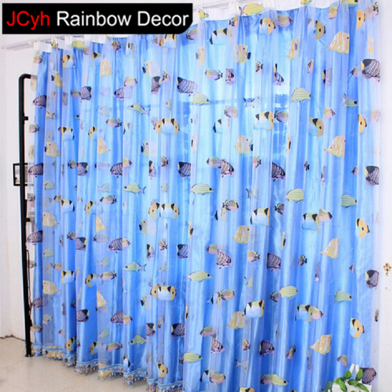New JRD Kids Cartoon Fish Blackout Tulle Curtain Colorful Blue Ocean  JT87