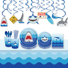 Omilut Baby Shower Boy Shark Birthday Party Supplies Disposable Plates/Cups/Paper Tablecloth Decor