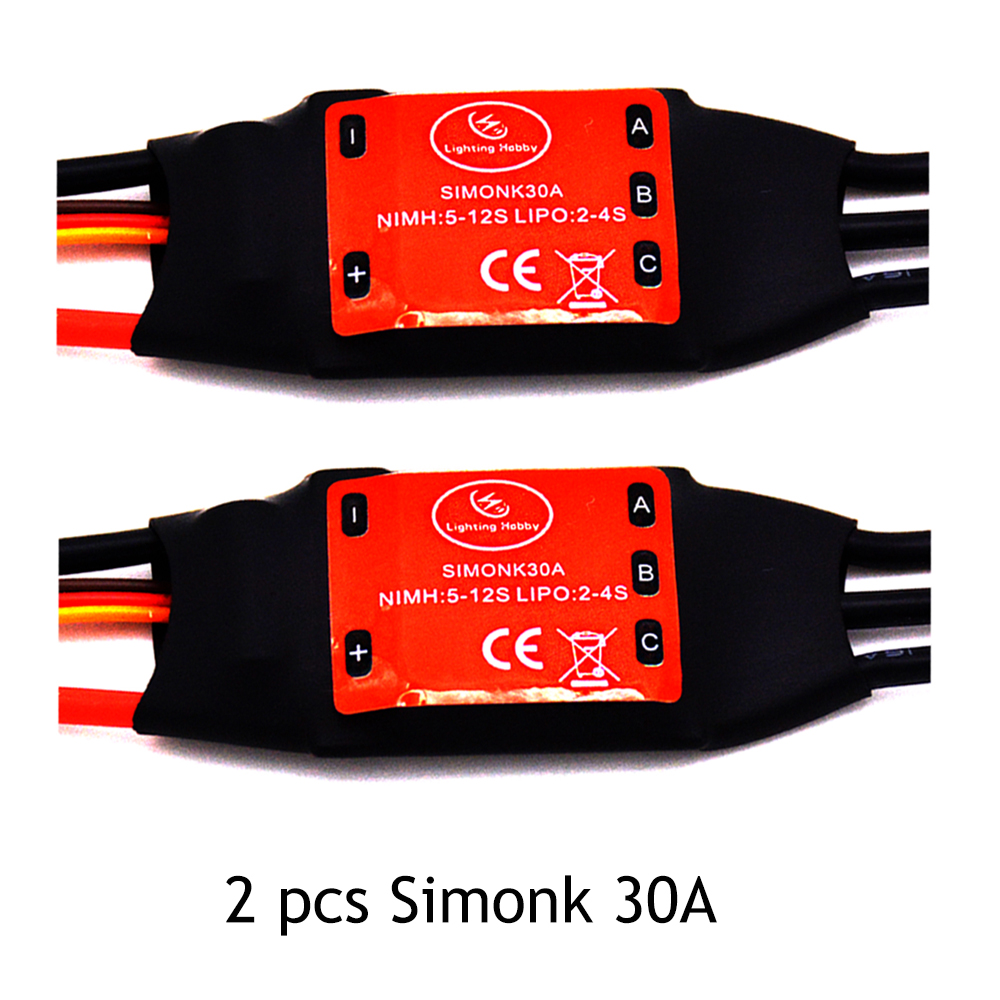 LHM015 2pcs Simonk 30A Brushless 450 helicopter multicopter Motor Speed Controller ESC qav250 zmr250 zmr 250 f450 30a esc welding plug brushless electric speed control 4v 16v voltage