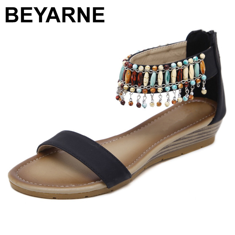 BEYARNE Women Ethnic Bohemia Wedge Sandals Shoes Woman String Bead Beach Sandals Casual Gladiator Shoes size 35-42 Black Apricot women wedges sandals string bead gladiator sandal women shoes bohemia lady summer beach casual shoes female elegant shoes abt716