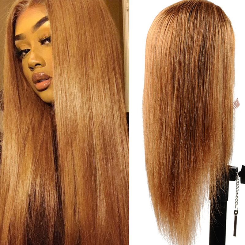 #30 Gold Blonde Lace Front Human Hair Wigs Brazilian Straight 13*4 Lace Front Wig PrePlucked Baby Hair Colored Lace Wigs NonRemy