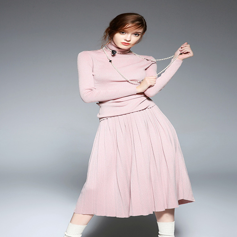388159e79e3f Lavorato E Vestiti Gonne Il Abbigliamento Dolcevita Delle Pieghe A Maglia  Lavoro Rosa Ha Di 2 Midi Nero Camicette colore Magliette Gonna apricot Set  ...