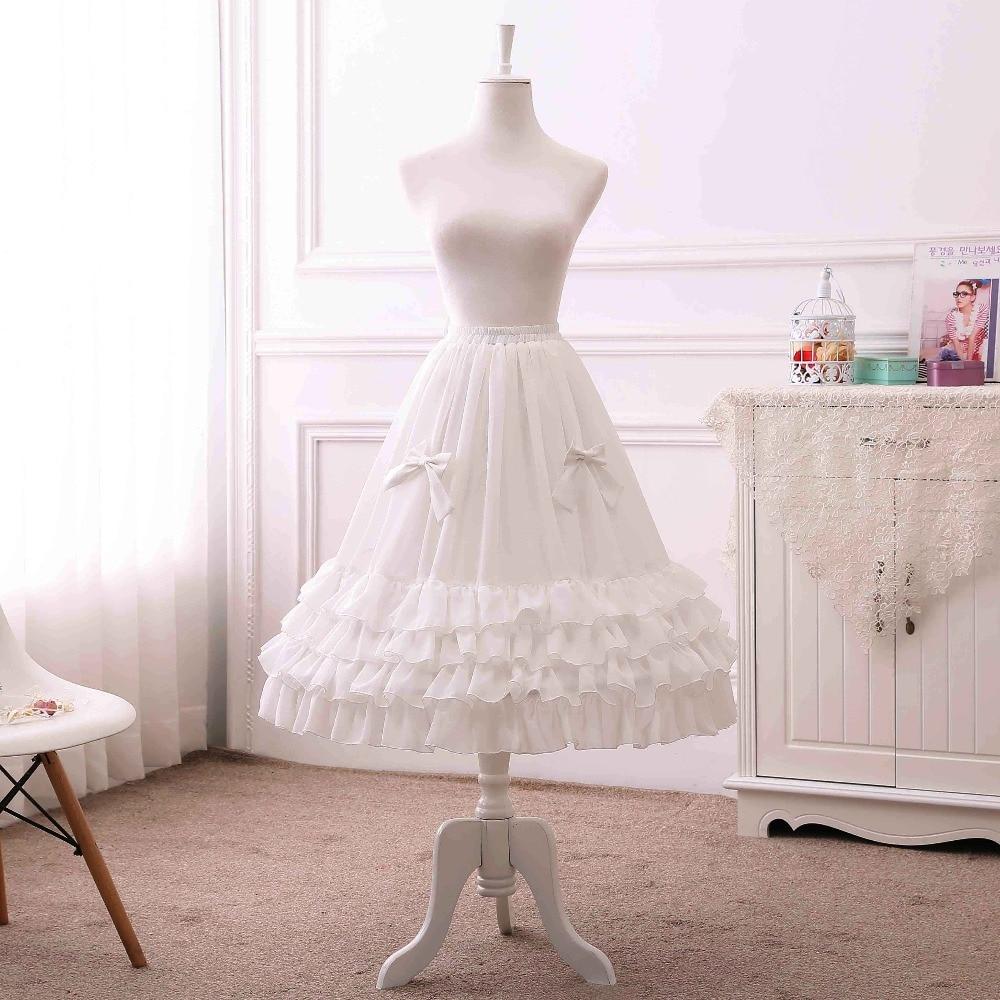 Fashion Girls Patticoat for Wedding & Cosplay Pretty Bow A-Line Tutu Chiffon Skirt White