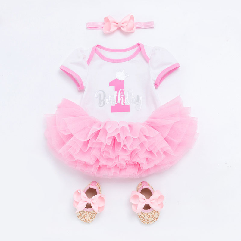 Baby Girl Clothes Set Brand Newborn 1st Birthday Outfits Infant Clothing Letter Bodysuit+Headband+Tutu Skirt+Shoes Baby Suits 3pcs set cute newborn baby girl clothes 2017 worth the wait baby bodysuit romper ruffles tutu skirted shorts headband outfits