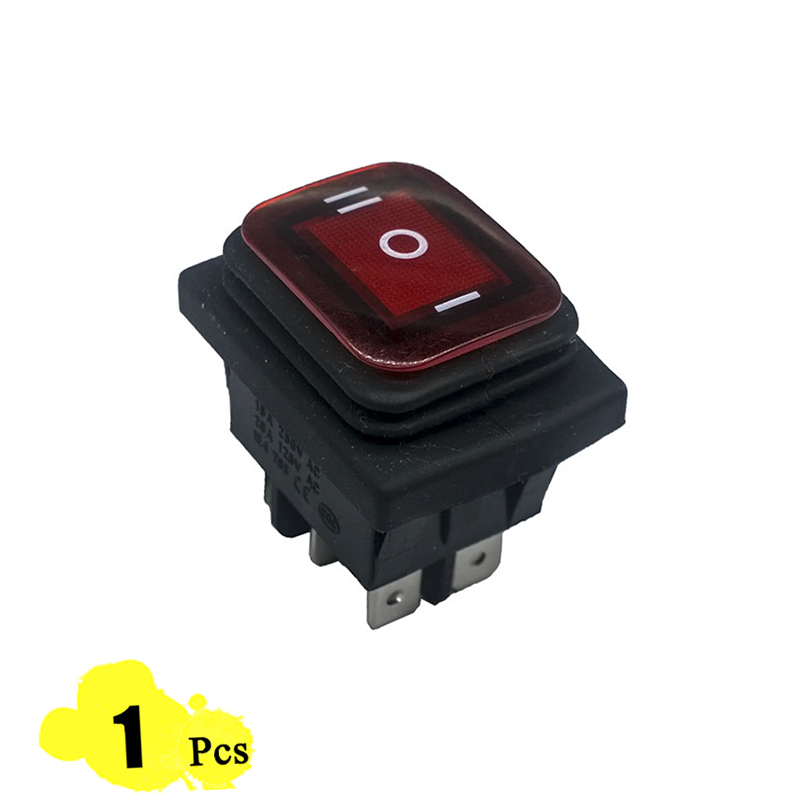 1pcs 39*29mm Red LED KCD4 6PIN Snap-in ON/OFF/ON Position Boat Rocker Switch 16A/250V Copper Feet Waterproof switch DPDT 10pcs ac 250v 3a 2 pin on off i o spst snap in mini boat rocker switch 10 15mm