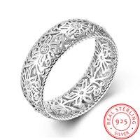 Legenstar Rings For Women 3 Dimensional Design Hollow Flower Crystal Classic Silver Wedding Rings Bijoux Femme Vintage Jewelry
