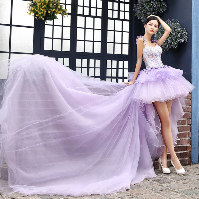 100%real flower beadng light purple ball gown medieval prom dress ...