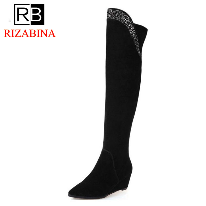 RizaBina Long Wedge Winter real leather Boots Round Toe Fashion Over Knee Boots For Women Brand Designer New Boots Size 34-39