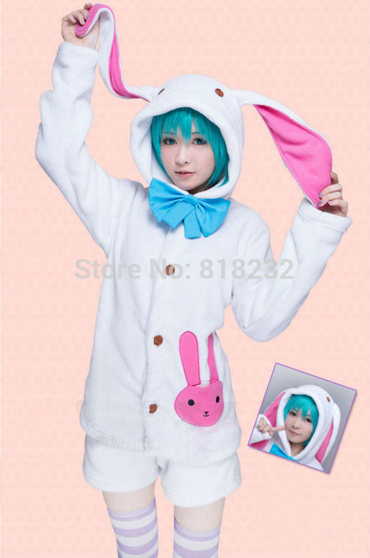 Vocaloid Hatsune Miku Pajamas Sleepwear Cute Rabbit Ear Hoodie Outfit Cosplay Costumes