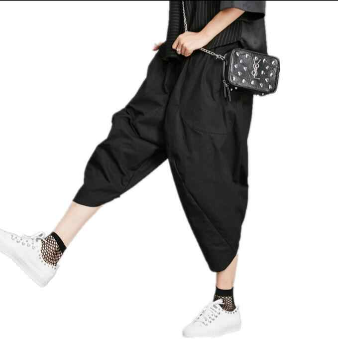 8a15041d1 ... 2019 summer new cropped trousers female original design elastic waist  black cotton bloomers loose casual pants ...