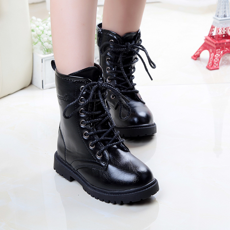 ФОТО 2016 New Snow Boots Kids Boys High Boots Black Colors Winter Boots Children's Shoes Girls Single Shoes children' s Martin boots