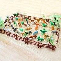 68 PCS Kids Miniature Plastic Simulation Artificial Zoo Fence Tree Animal Tiger Dinosaur Collection Toy Animals