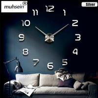 Factory Freeshipping 2017 New Metall Moderne 3D DIY Wall Clock Acrylic EVR Metal Mirror Home Decoration