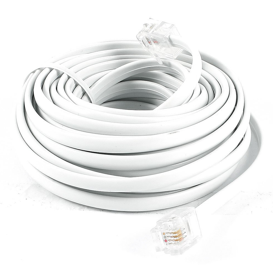 Brand New White RJ11 6P4C Modular Telephone Extenstion Lead Cable 6M 20ft