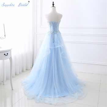 Sapphire Bridal Soft Light Weight Blue Wedding Dress Vestido De Noiva Sweetheart A Line Lace Appliques Beaded Wedding Dress