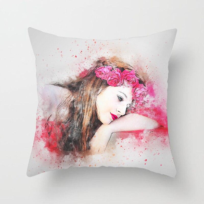 Fuwatacchi Senhora Elegante Capa de Almofada Pintura Menina de Impressão Lance Caso Travesseiros Sofá Cadeira Cama De Decoração para Casa Almofadas Decorativas Cobrir