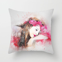 Fuwatacchi Elegant Lady Painting Cushion Cover Girl Print Throw Pillows Case Sofa Bed Chair Home Decor Decorative