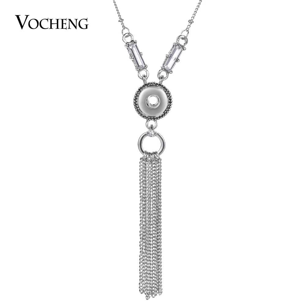 80 cm łańcuch sweter Vocheng Ginger Snap biżuteria Tassel naszyjnik wisiorek na małą 12mm Snap Charms NN-632