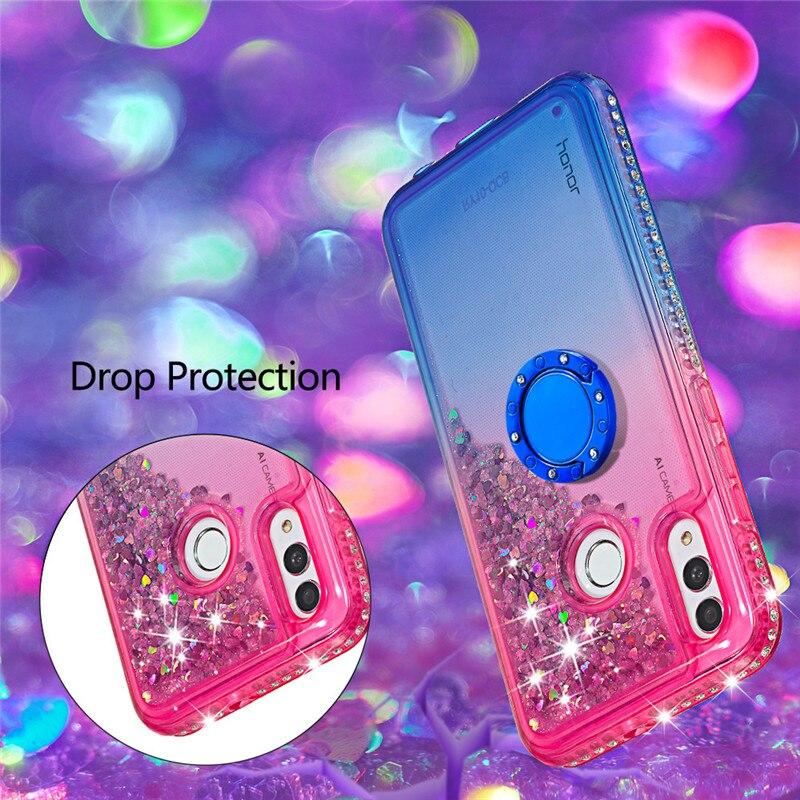 Diamante di Bling Liquido Sabbie Mobili Custodie per Huawei Compagno di 20 pro Compagno di 20 lite Titolare Anello Gradiente Posteriore Coque per Huawei honor10 lite - 3