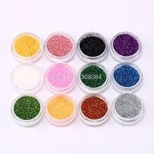 12 Color Random Nail Glitter Powder with box Decor Accessori