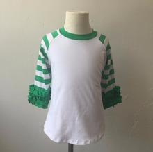 Hot Selling Icing Ruffle Shirt Girl Green Stripe Shirts Ruffle Raglan Shirt Cheap Wholesale Icing Ruffle Shirt
