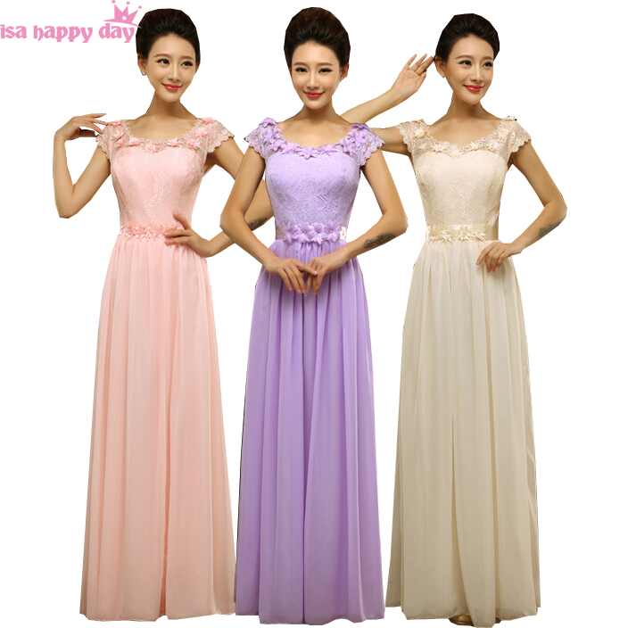 2019 Fashion Chiffon Top Long Shoulder Sexy Champagne Coloured Bridesmaid Pink Bridesmaids Adult Party Dresses In Purple B2700