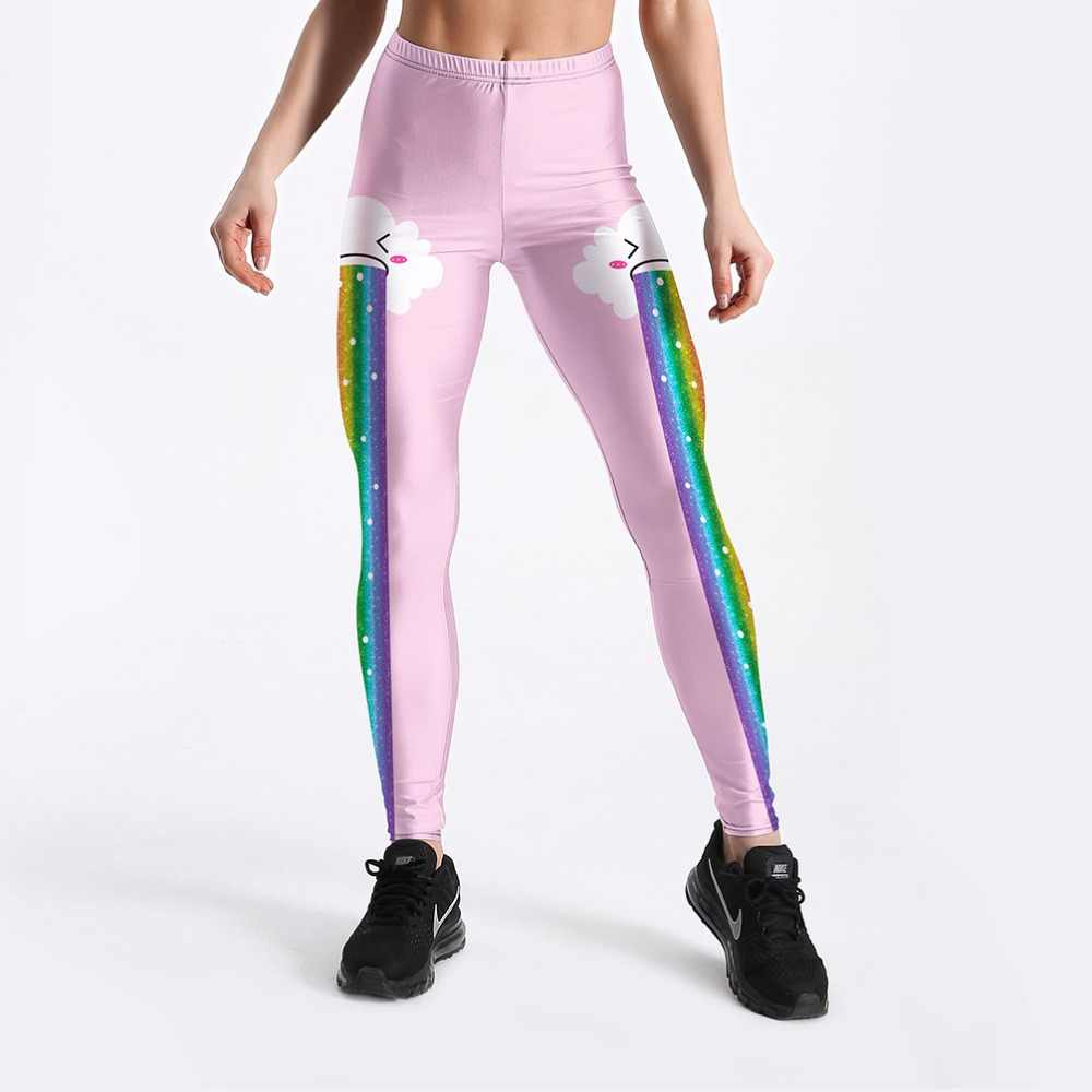 Rainbow Clouds พิมพ์สไตล์หวานผู้หญิงฟิตเนส Leggings สีชมพูแฟชั่นฤดูร้อน Soft ออกกำลังกายกางเกงยาว