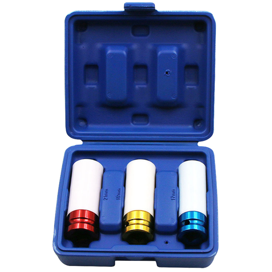 3pcs/Set Sleeves 17/19/21mm Car Tire Protection Sleeves Wall Deep Impact Nut Alloy Wheel Socket Red Blue Yellow