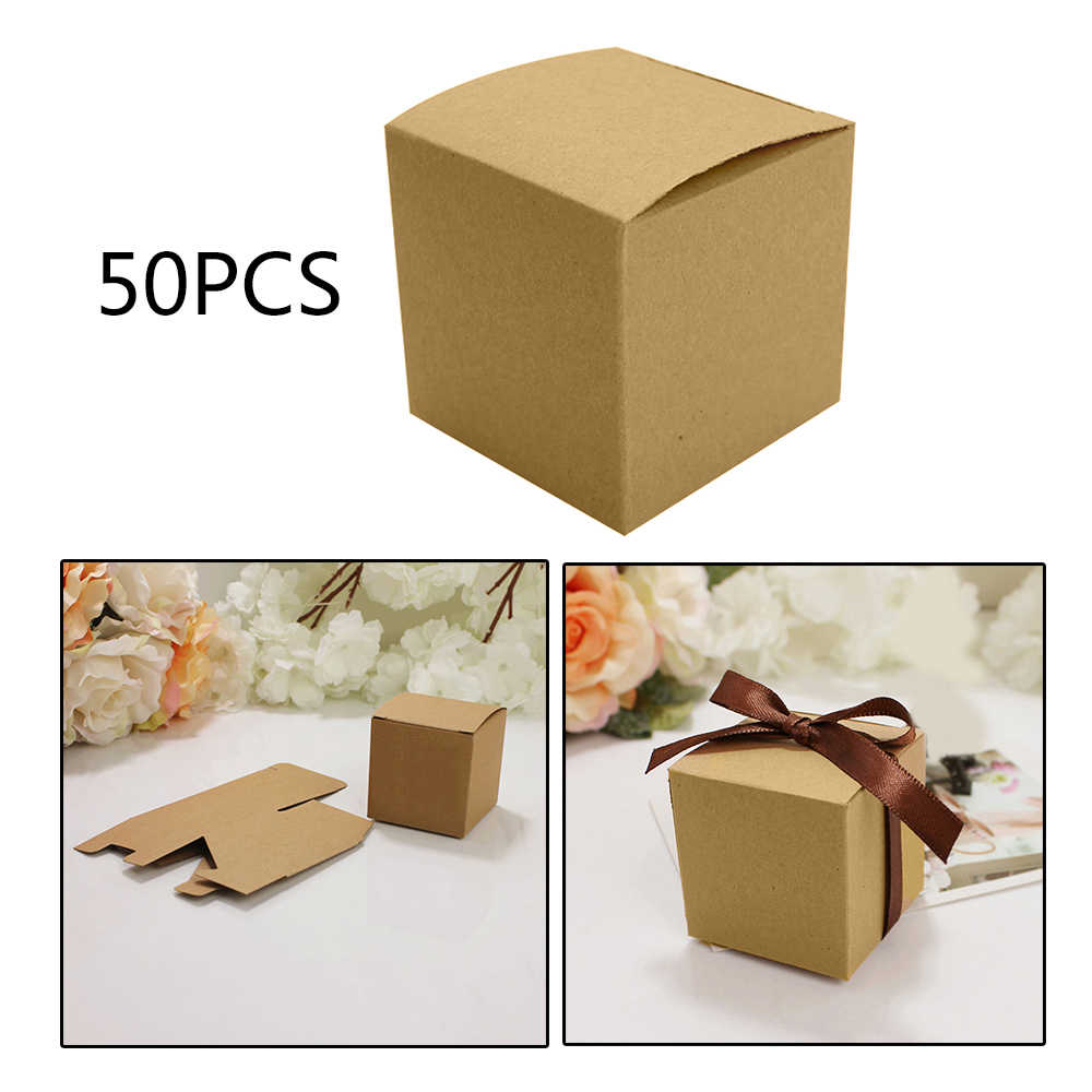 50 pcs/pack DIY Kraft Paper Box Handmade Brown Square Kraft Paper Candy Box for Birthday Party Wedding Gift Ideas Box