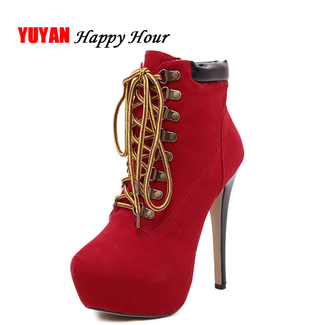 2019 herbst Winter Stiefel Frauen Super High Heels Plattform Hochhackigen Mode frauen Stiefel Damen Marke High Heel Ankle Botas ZH2400