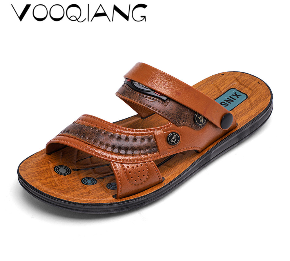 79a5078d1788 VOOQIANG Brand Genuine Leather Shoes Summer New Large Size Men s Sandals  Men Sandals Fashion Sandals And Slippers Big Size