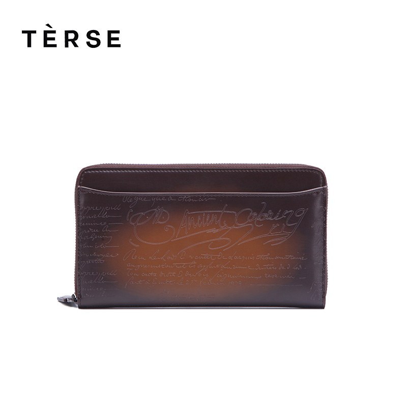 TERSE 2018 NEW Wallet Genuine Leather Purse For Men Long Zipper Wallet With Card Holder Vintage Style clutches customize Logo automotive multimeter test vehicle car battery dc ac voltage frequency resistance diode pen style tester