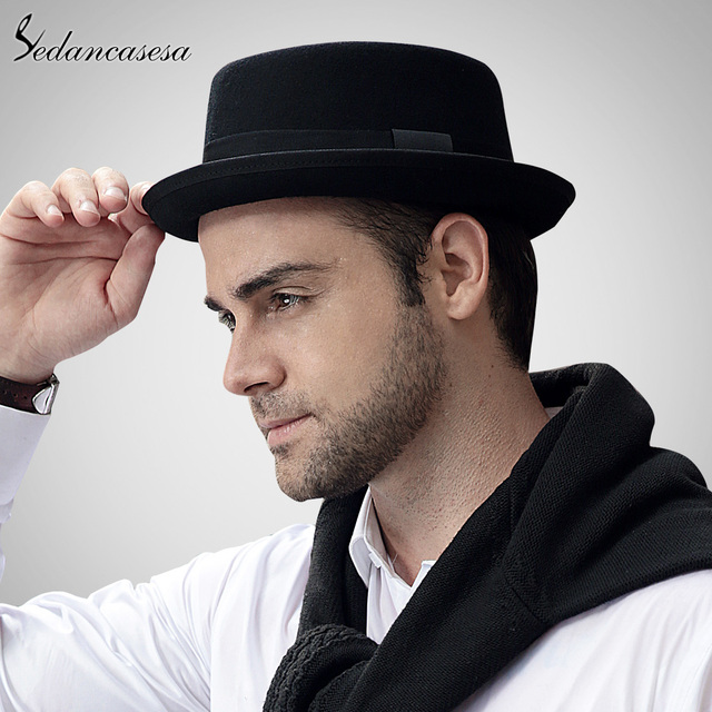 Sedancasase New 2016 Fashion 100% Australia Wool Men's Fedora Hat with Pork Pie Hat for Classic Church Wool Felt Hat  FM017028