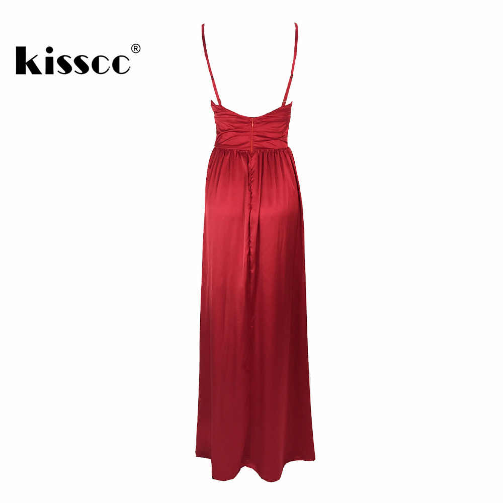 90a92cdc07eac Sexy Red Satin Maxi Dress High Splits Backless Party Deep V Neck Padded  Floor Length Party Dresses Evening Club Gown Dress