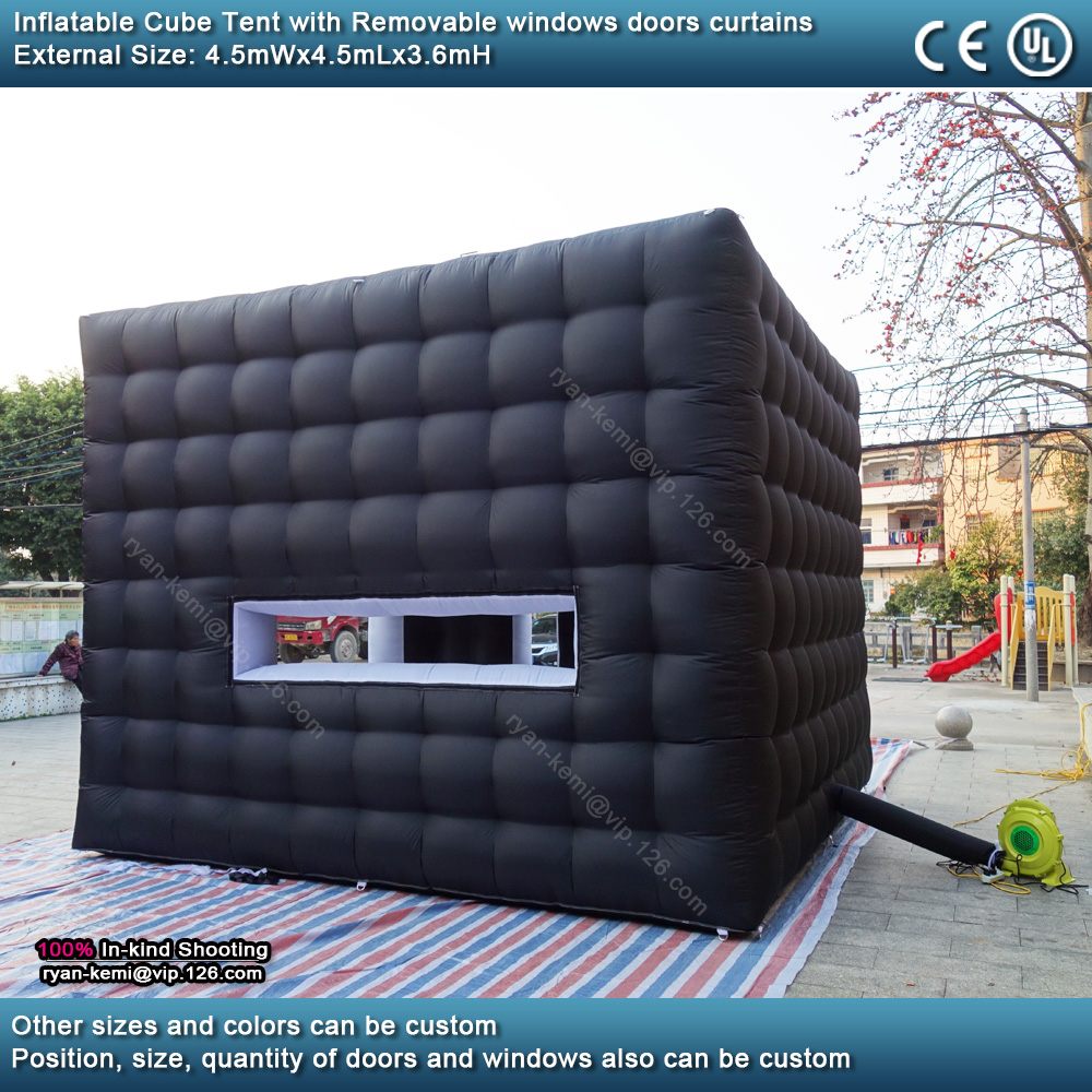 back 4.5mWx4.5mLx3.6mH Black white inflatable cube tent outdoor portable events room shelter for trade show party photo booth