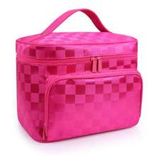 SUONAYI Woman Cosmetic Bags Striped Pattern Organizer Makeup Bag Folding Travel Toiletry Large Capacity Storage Beauty