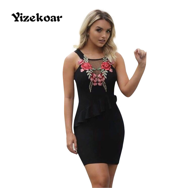 132339142fb1 Rosa Roja Bordado negro bodycon vestido sexy spaghetti Correas sin mangas  mujeres mini vestido caliente insertar