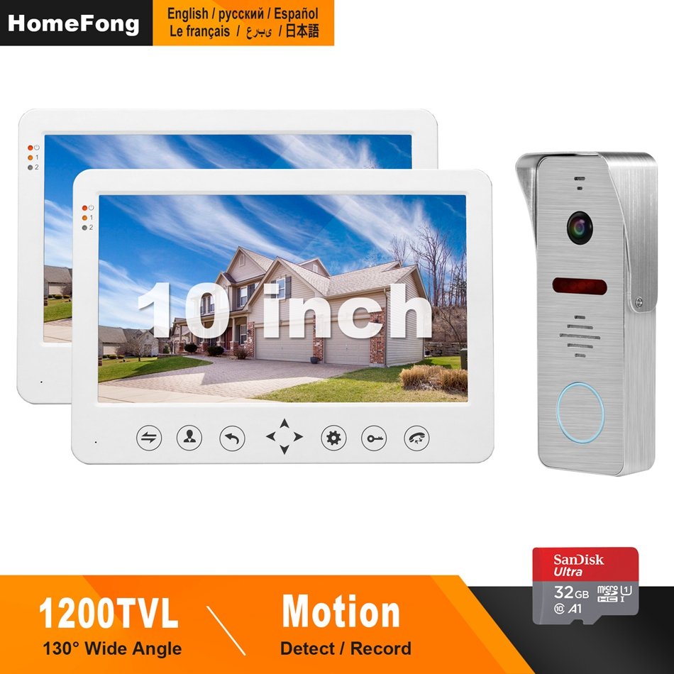 Homefong 10Inch Video Door Phone Intercom System 130°Wide Angle Camera Support Motion DetectionFor Home Video Intercom Doorbell