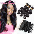 13x4 Lace Frontal with Indian Body Wave hair ear to ear Lace Frontal Closure with 3 Bundles Human Hair Weaves Wonder Beauty Hair