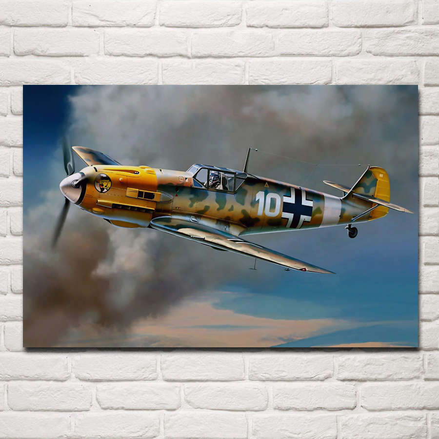 retro ww2 propeller aircraft airplane living room home wall modern art decor wood frame fabric posters KC199 image