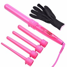 5 in 1 Professional Hair Curling Irons Interchangeable Curler Rollers 5 size Barrels Hair Crimper Styling Tools With Glove Pink