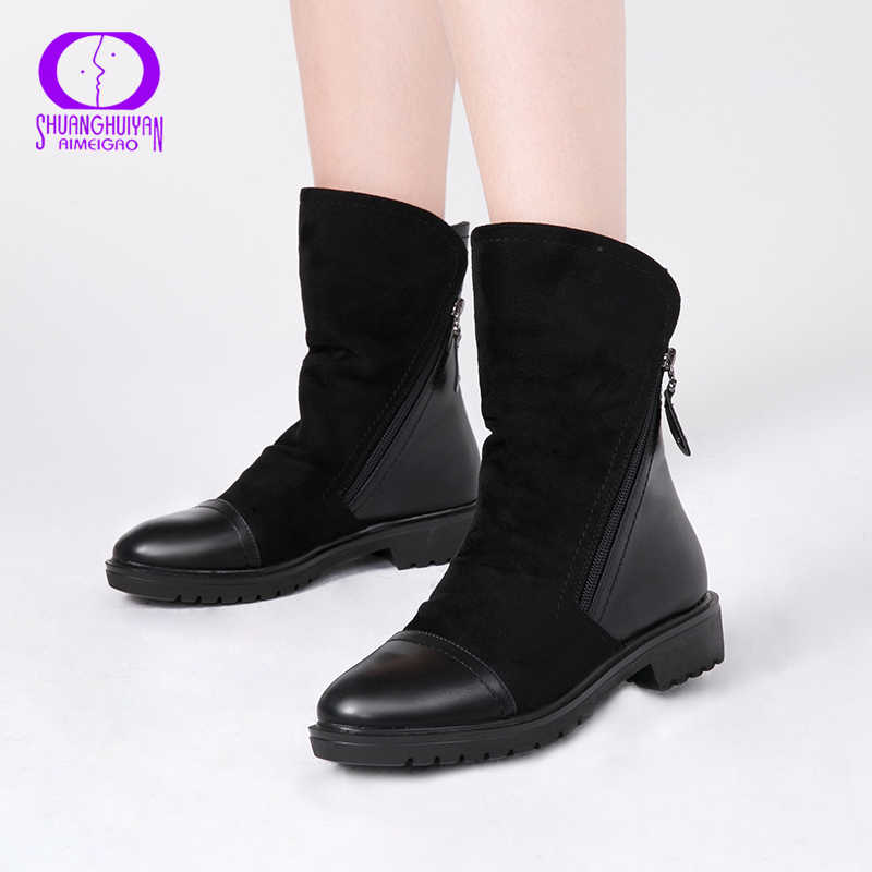 AIMEIGAO Autumn Winter Mid-Calf Boots Women Double Zippers Warm Fleece Black Boots Women PU Leather Solid Suede Booties Women