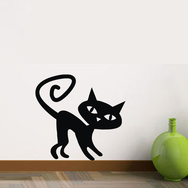 Swirl Tails Cat Wall Stickers Kids Room Decoration Murals Vinyl Art Decals Home Decor