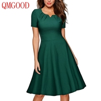 QMGOOD Women Retro Big Swing Dress Short Sleeves Solid Cotton Green Dress Elegant Female Social Dresses