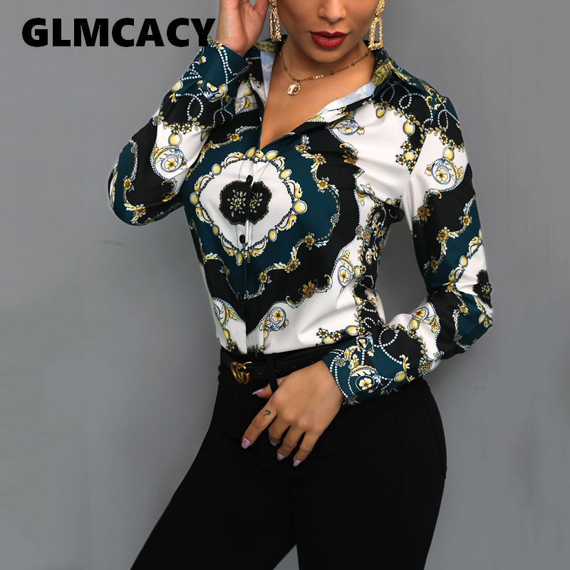 Women Elegant Office Lady Tops Blouses 2019 Spring Turn Down Collar Long Sleeve Chain Scarf Print Office Shirts Plus Size Blouse(China)