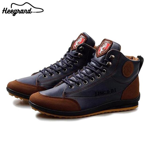 Hee grand hombres de moda zapatos casuales 2017 nuevos hombres de la llegada sólido botas otoño masculino ocasional de la pu zapatos de cuero impermeables xmx060