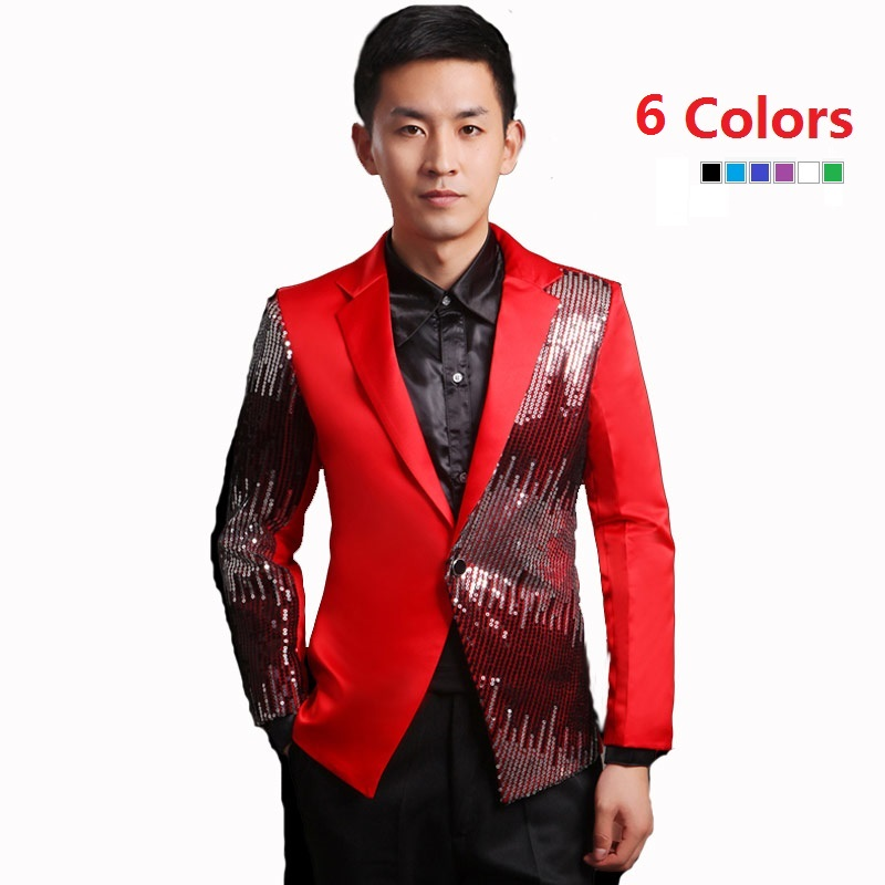 Moderator clothes paillette male master Sequin Dresses Stage Costumes Men  terno Suit MC Host Clothing Singer ... 06b9b4ae0d43