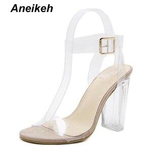 Image 3 - Aneikeh 2019 sandálias de salto alto transparente, de pvc, cristal, leopardo, salto alto, femininas, de 11cm e 41 42