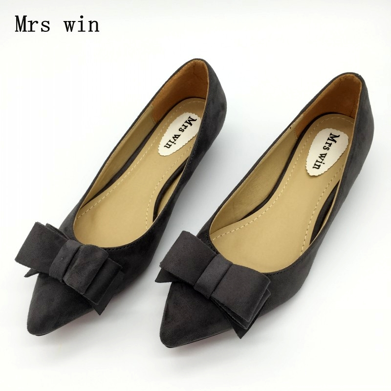 Fashion Women Low Heel Pumps Shoes Spring Autumn Flock Pointed Toe Bowtie Slip On Woman Casual Spike Heel Single Shoes Plus Size memunia 2017 fashion flock spring autumn single shoes women flats shoes solid pointed toe college style big size 34 47