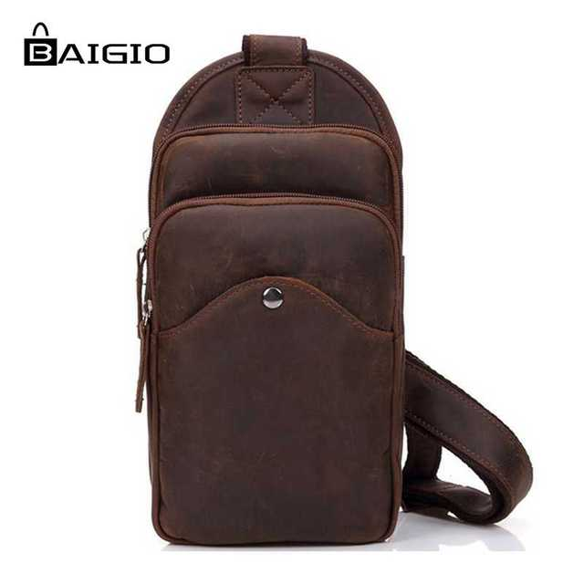 751b0d00874f Baigio 2017 Men Leather Chest Bag Vintage Brown Best Designer Chest Pack  Casual Shoulder Bags Crossbody Chest Bags Travel Bags